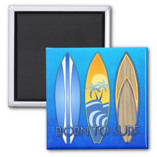 Llevado practicar surf imán de frigorífico