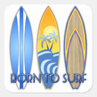 Llevado practicar surf pegatinas cuadradas personalizadas