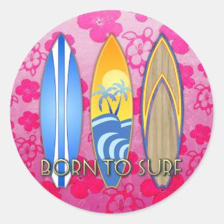 Llevado practicar surf pegatina redonda