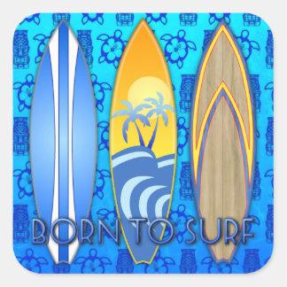 Llevado practicar surf pegatina cuadrada