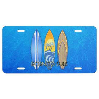 Llevado practicar surf placa de matrícula