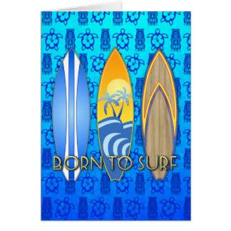 Llevado practicar surf tarjeta de felicitación
