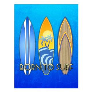 Llevado practicar surf tarjeta postal