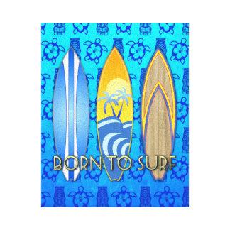 Llevado practicar surf Tiki azul Impresión En Lienzo