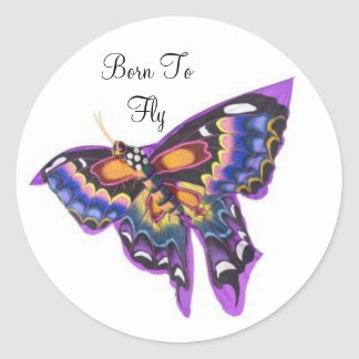 Llevado volar al pegatina de la mariposa