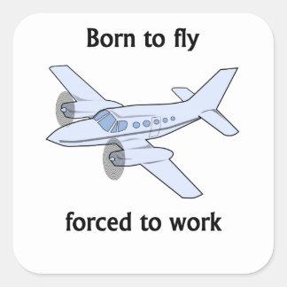 Llevado volar forzado para trabajar calcomanía cuadradas personalizadas