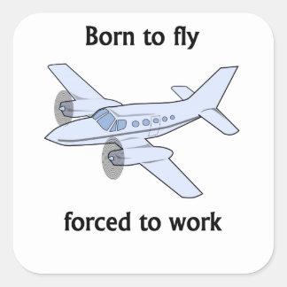 Llevado volar forzado para trabajar pegatina cuadradas personalizada