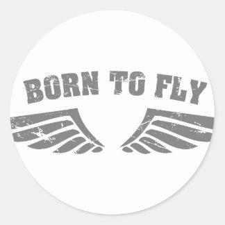 Llevado volar las alas etiquetas redondas