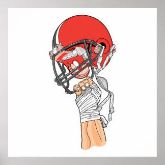 llevar a cabo alto diseño del fútbol del casco póster