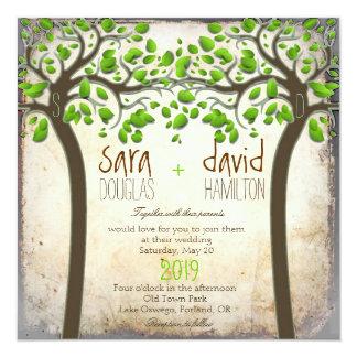 """Llevar a cabo el boda rústico de Eco del amor de Invitación 5.25"""" X 5.25"""""""