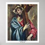 Llevar la cruz por el EL de Greco Posters