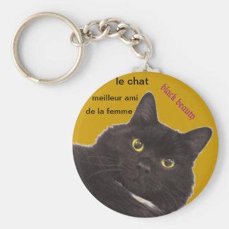 llevarclave gato negro, cat keychain llavero redondo tipo pin