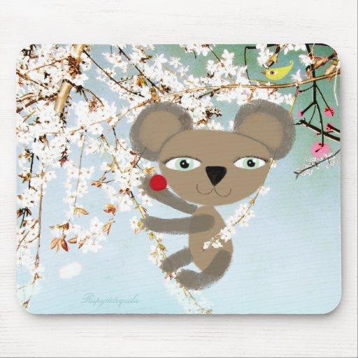Lleve el amor de la flor del pájaro de la cereza q tapete de ratones
