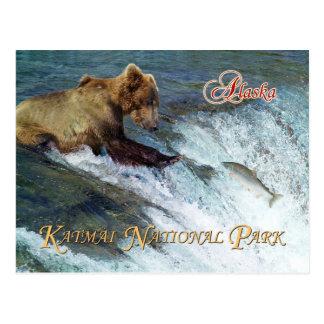 Lleve el coger de los salmones, parque nacional de tarjeta postal