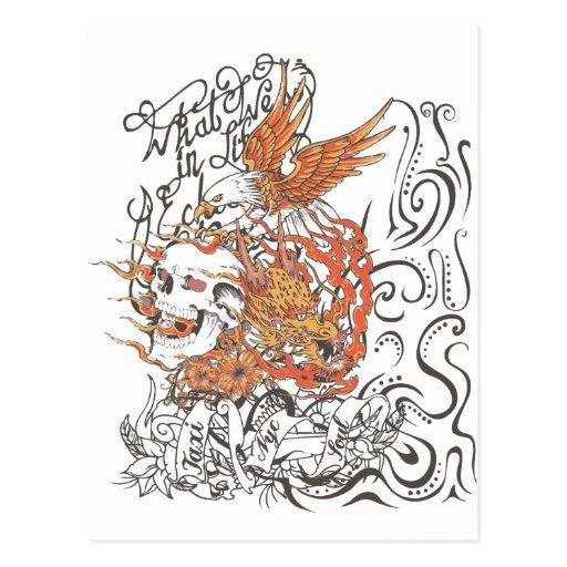 lleve en taxi el gráfico del tatuaje del águila de tarjetas postales