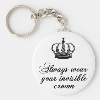 Lleve siempre su corona invisible, diseño del arte llavero redondo tipo pin