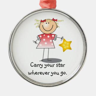 Lleve su estrella que autoriza el ornamento del adorno navideño redondo de metal