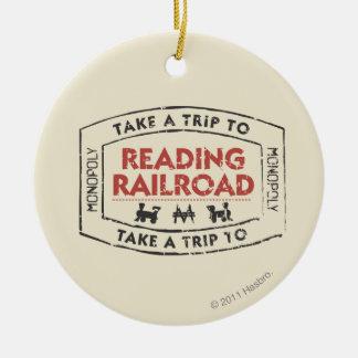 Lleve un viaje la lectura del ferrocarril adorno navideño redondo de cerámica