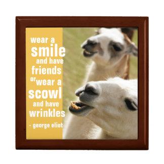 Lleve una sonrisa y tenga cita de George Eliot de Joyero Cuadrado Grande