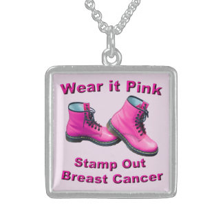 Llévelo rosado sellan hacia fuera al cáncer de colgante cuadrado