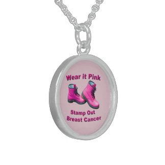 Llévelo rosado sellan hacia fuera al cáncer de collar de plata esterlina