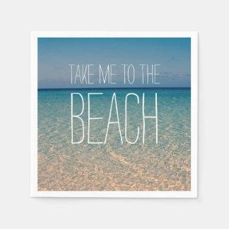Lléveme a la arena del cielo azul del verano del servilleta de papel