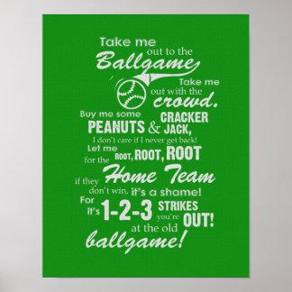 Lléveme hacia fuera al partido - verde poster