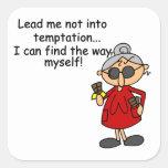 Lléveme no en humor de la tentación calcomania cuadrada personalizada