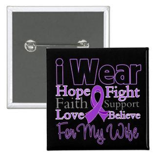 Llevo a la esposa púrpura del collage - cáncer pin cuadrado