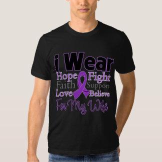 Llevo a la esposa púrpura del collage - cáncer playeras