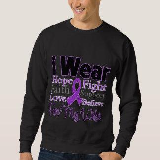 Llevo a la esposa púrpura del collage - cáncer pullover sudadera