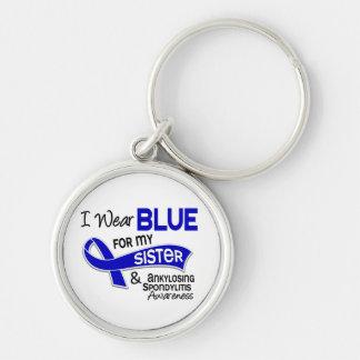 Llevo a la hermana azul 42 Spondylitis Ankylosing Llavero Redondo Plateado