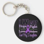 Llevo a la hija púrpura del collage - cáncer pancr llaveros