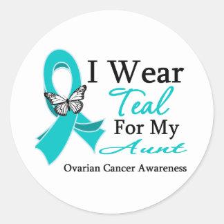 Llevo a la tía cáncer ovárico de la cinta del pegatina redonda