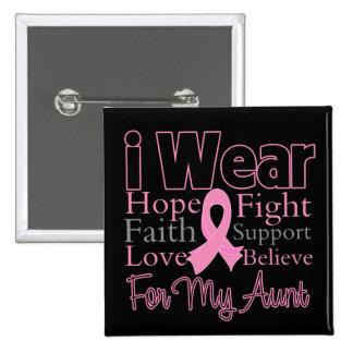 Llevo a la tía rosada del collage - cáncer de pech pin cuadrada 5 cm