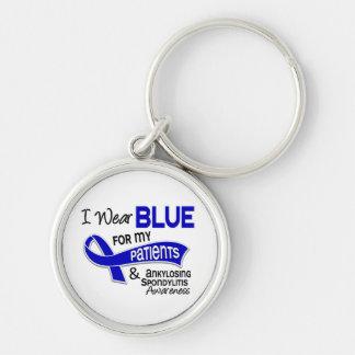 Llevo a los pacientes azules 42 Spondylitis Ankylo Llavero Redondo Plateado