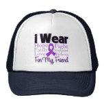 Llevo al amigo púrpura del collage - cáncer pancre gorros bordados