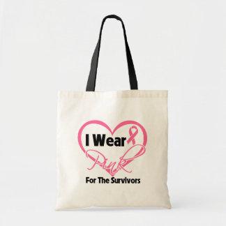 Llevo al cáncer de pecho rosado de los supervivien bolsas
