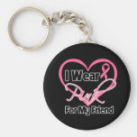 Llevo al cáncer de pecho rosado del amigo de la ci llaveros personalizados