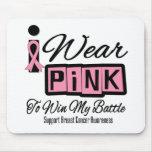 Llevo al cáncer de pecho rosado para ganar mi bata tapete de raton