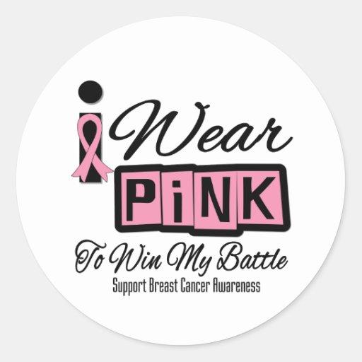 Llevo al cáncer de pecho rosado para ganar mi pegatinas redondas
