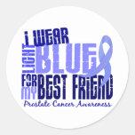 Llevo al cáncer de próstata azul claro del mejor a pegatina redonda