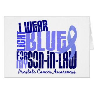 Llevo al cáncer de próstata azul claro del yerno 6 tarjeta de felicitación