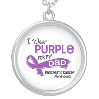 Llevo al cáncer pancreático del papá de la púrpura colgante redondo