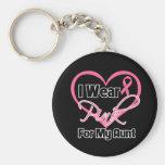 Llevo al cáncer rosado de la tía pecho de la cinta llaveros personalizados