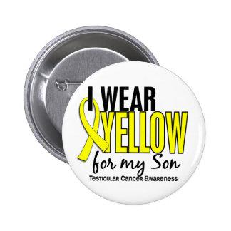 Llevo al cáncer testicular del hijo 10 amarillos pin redondo de 2 pulgadas