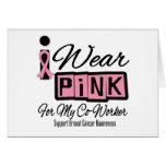 Llevo al compañero de trabajo rosado del cáncer de tarjetón