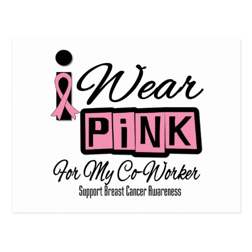 Llevo al compañero de trabajo rosado del cáncer de postales