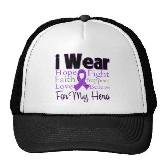 Llevo al héroe púrpura del collage - cáncer pancre gorros bordados