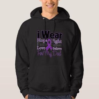 Llevo al papá púrpura del collage - cáncer jersey con capucha